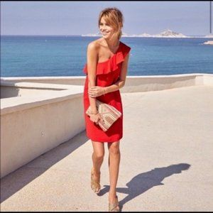 NWT Sezane Louison Red One Shoulder Ruffle Dress